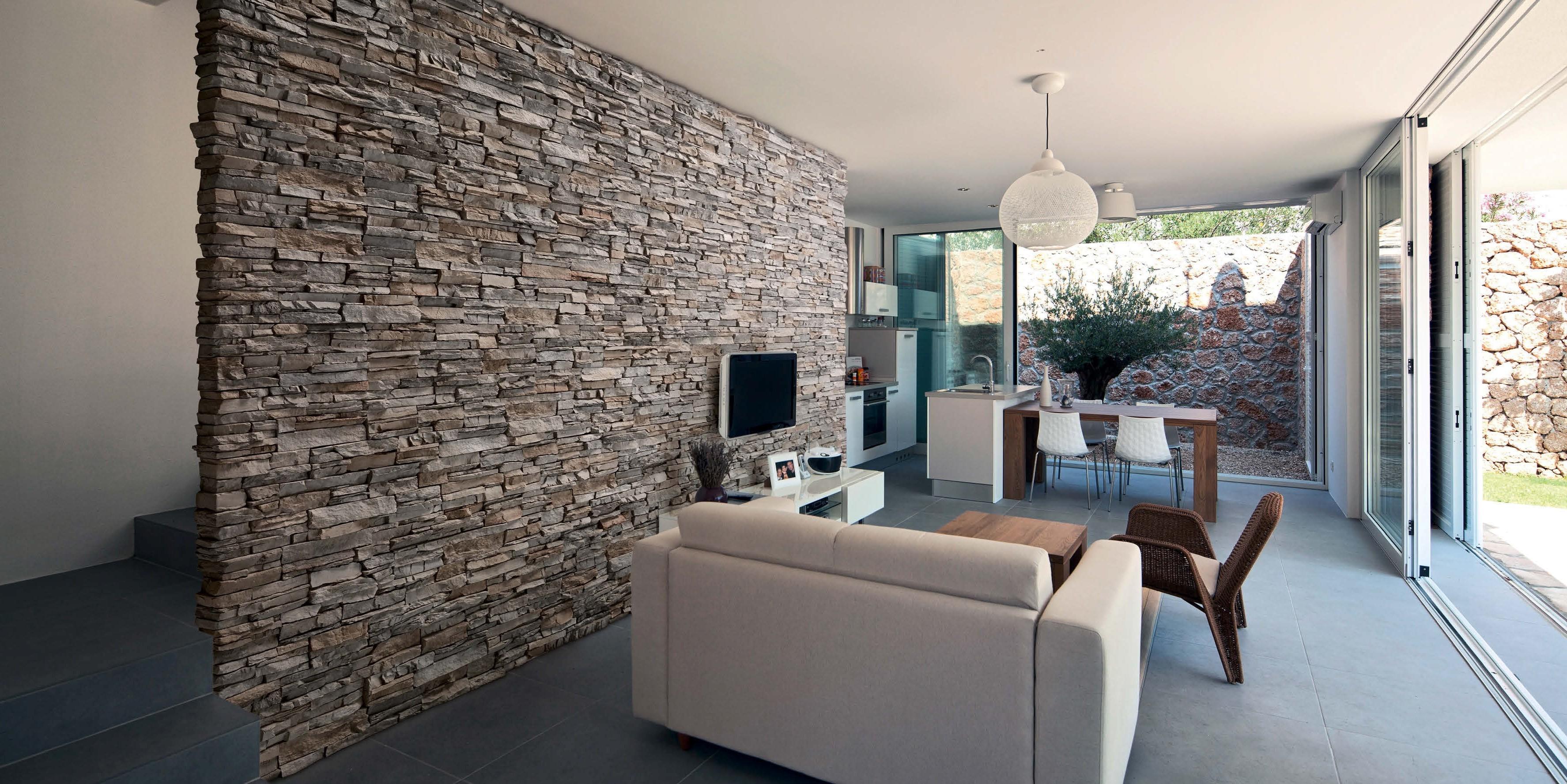Pietra naturale ricostruita rivestimenti e piastrelle - Case in pietra interni ...