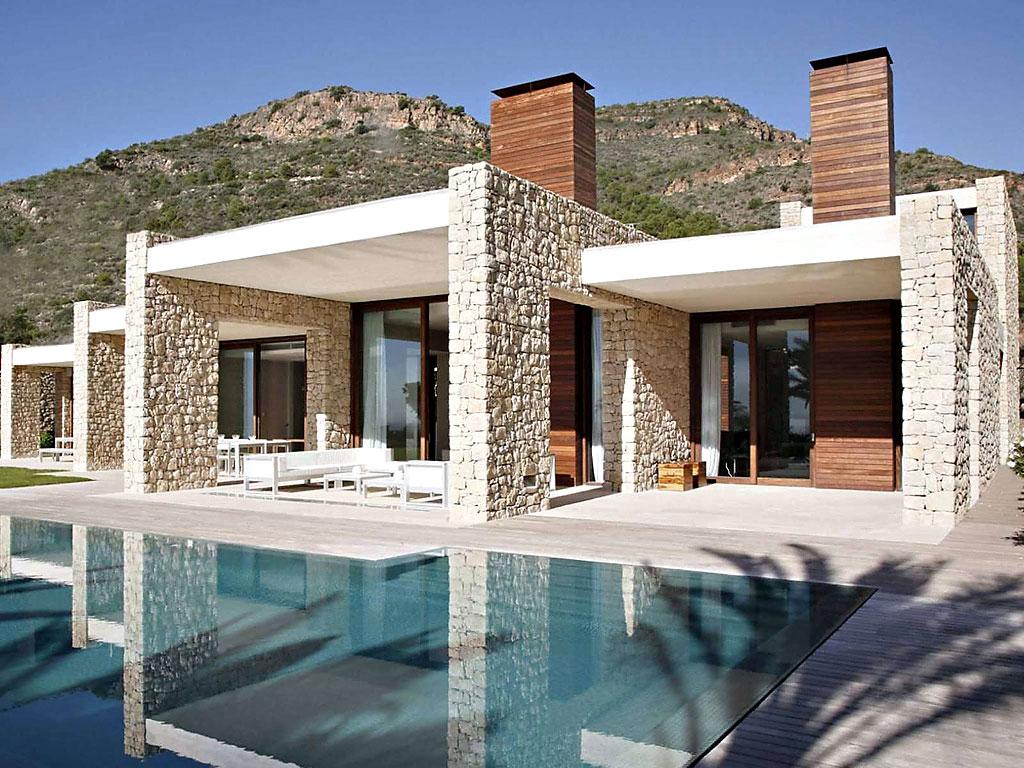 Ville moderne con pietra naturale origine pietra for Case con facciate in pietra